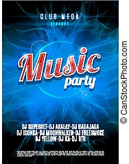 Vertical blue music party flyer with place for text on flame background.  Vector illustration.