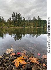 Round Lake at Lacamas Park in Fall
