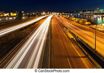 Blue Hour Freeway Light Trails - Portland Oregon downtown...