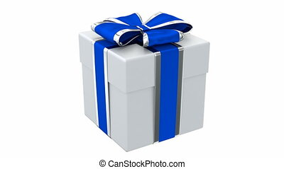 Gift box 3D animation - Gift box blue and silver ribbon 3D...