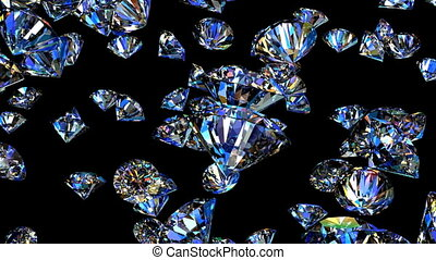 Diamonds 3D animation - Diamonds falling from the top...