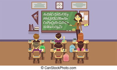 School class with pupils animation. Back to school short...