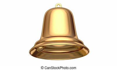 Christmas bell 3D animation - Golden Christmas bell seamless...