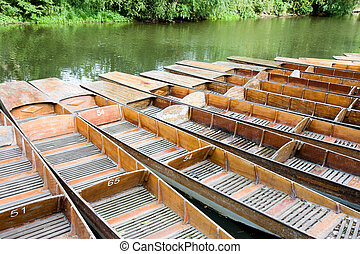 Punts moored on the river in Oxford