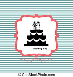 bride and groom icon for wedding card