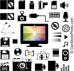 technology and storage icons set - vector technology and...