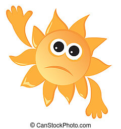 Sad sun - Cartoon sun in a sad mood Vector illustration