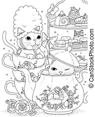 cats having afternoon tea - black and white cats having...