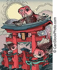 torii and fishes - Japanese torii in sea; with moon and...