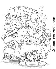 Cat with pastry and tea - black and white cat with pastry...