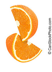 hanging, falling and flying piece of orange fruits isolated...