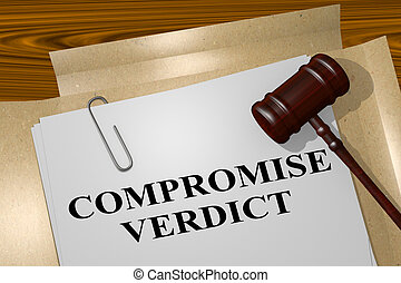 Compromise Verdict - legal concept - 3D illustration of...