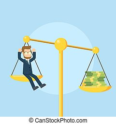 businessman on scales with a lot of money