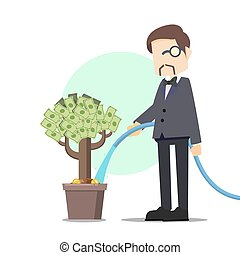 Rich man watering money tree