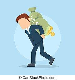 businessman carrying damaged money sack