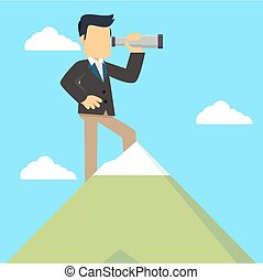 businessman on top of mountain with telescope