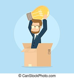 businessman pop up from box with idea light bulb