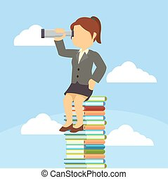 businesswoman sitting on stack of book