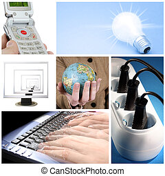 Tehnology collage: light bulb, keyboard, outlet, cell phone,...