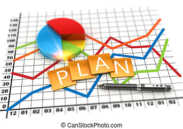 Corporate planning financial and investment concept - 3D...