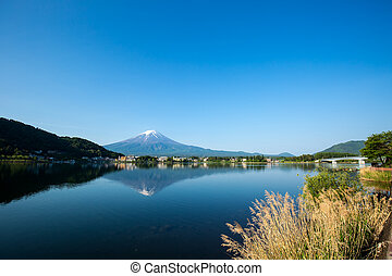 Mount Fuji at Kawaguchiko lake in summer morning.