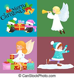 Children enjoy winter holidays, angel girl with wings and...