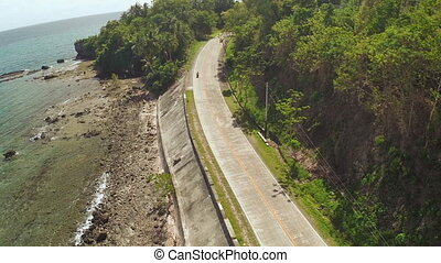 Winding road along the coast of the Philippines.