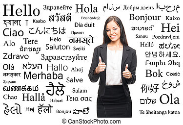 Young businesswoman on a background of languages - Young...