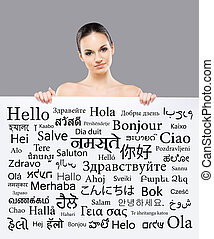 Beautiful girl with a banner of languages - Beautiful girl...