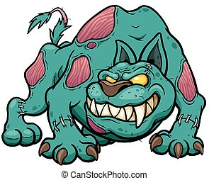 Zombie Dog - Vector illustration of Cartoon Dog zombie