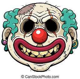 Clown Zombie - Vector illustration of Cartoon Clown Zombie...