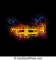 Fiery cornet. - Cornet, covered in flames.
