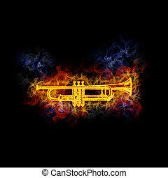 Fiery cornet. - Cornet, covered in flames.