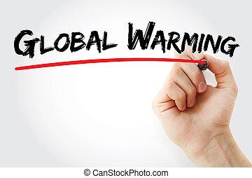 marcador,  global,  warming, mano, escritura