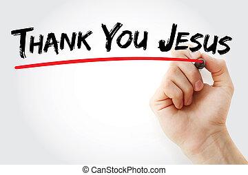 Jesús, agradecer, escritura, marcador, usted, mano