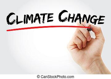 marcador, clima, mano, cambio, escritura