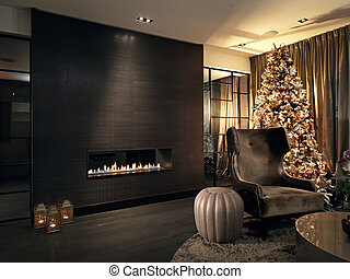 Christmas tree in livingroom with modern fireplace