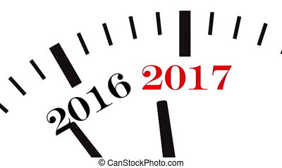 Animation of clock countdown from year 2016 to 2017. UltraHD...