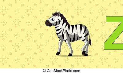 Zebra. English ZOO Alphabet - letter Z - Animated English...