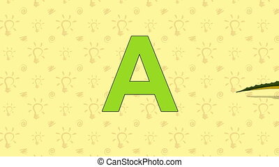 Alligator. English ZOO Alphabet - letter A - Animated...