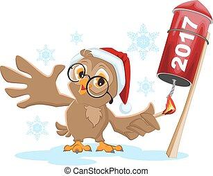 Owl Santa lights rocket fireworks 2017. Isolated on white...
