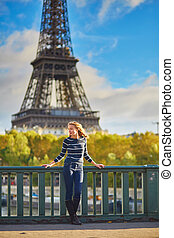 Girl in Paris on a spring or fall day