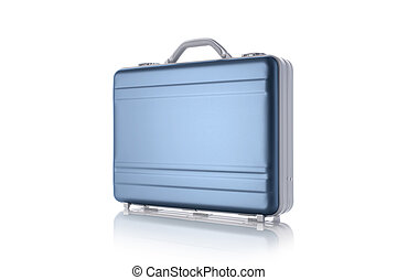 Metal blue briefcase isolated on the white background