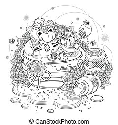 Lovely bear adult coloring page, bears enjoying sweet honey,...