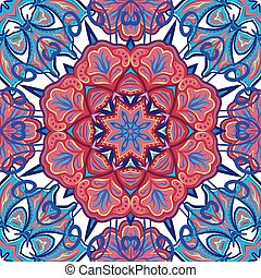Seamless Abstract Kaleidoscope Pattern (Vector). Hand Drawn Texture