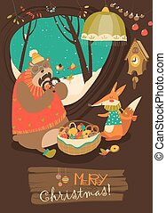 Cute bear and fox celebrating Christmas in den. Vector...