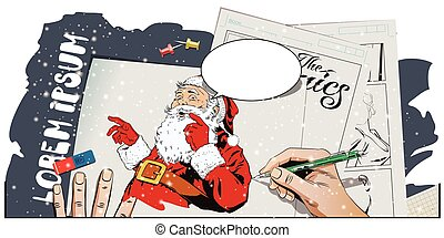 Santa Claus with a welcome gesture. Hand paints picture.