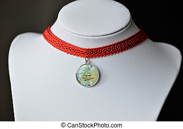 Choker necklace from red ribbon and handmade pendant of an...