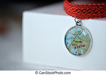 Choker necklace from ribbon and handmade pendant of an epoxy...