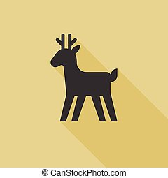 Christmas reindeer icon, silhouette  deer icon,  flat design vector with long shadow